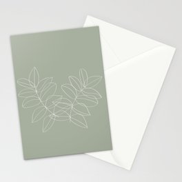 Boho Sage Green, Decor, Line Art, Botanical Leaves Stationery Cards