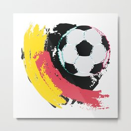 Football ball and red, yellow strokes Metal Print