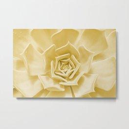 Pale Mustard Succulent - Pastel Botanical Minimalism Metal Print