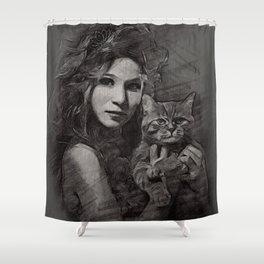 donna con gatto Shower Curtain