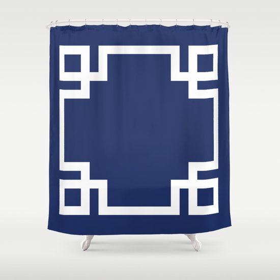 navy blue greek key shower curtaindoodle's designs | society6