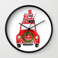craftberrybush Wall Clocks featuring Red Christmas Car - white  by craftberrybush