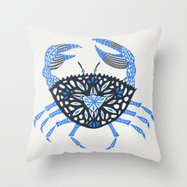 Blue Crab Throw Pillow