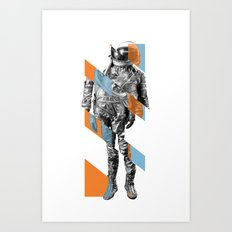 Abstract Astronaut In Orange and Blue Art Print