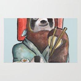 sloth eating sushi Rug