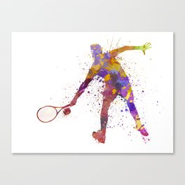 tennis player in silhouette 02 Canvas Print