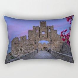 The fortress wall  Rhodes, Greece Rectangular Pillow