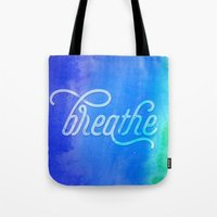 breathe Tote Bags featuring Breathe by Noonday Design