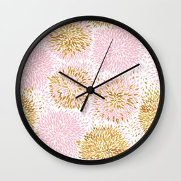 Abstract flowers pink and gold Wall Clock