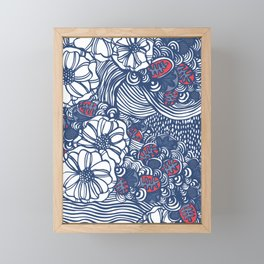 red and blue wavy floral Framed Mini Art Print