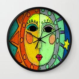 Moon and Sun Abstract Digital Painting Wall Clock