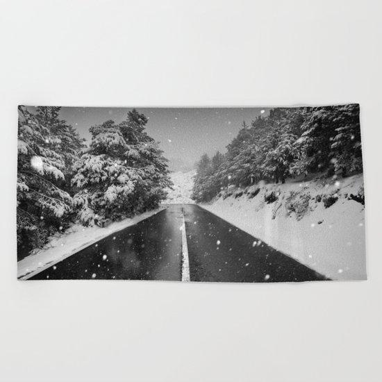 """The road"". Bw Beach Towel"
