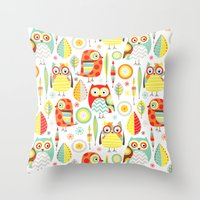 mod Throw Pillows featuring Mod Owls by Jeannine Feierbach Designs