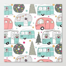 Retro Christmas Campers Canvas Print