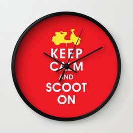 Keep Calm and Scoot On (For the Love of Scooters) Wall Clock