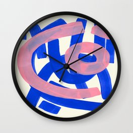 Tribal Pink Blue Fun Colorful Mid Century Modern Abstract Painting Shapes Pattern Wall Clock