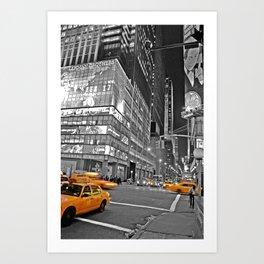 NYC - Yellow Cabs - CityLight Art Print