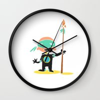 super hero Wall Clocks featuring Super Hero by La Lanterne