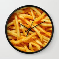 french fries Wall Clocks featuring French Fries by I Love Decor