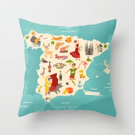 Spain map vector. Illustrated map of Spain for children Throw Pillow
