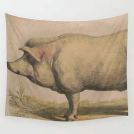Vintage Illustration of a Domesticated Pig (1874) Wall Tapestry