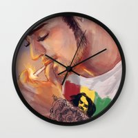 smoking Wall Clocks featuring Smoking by justsomestuff