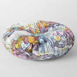 Splashes Of Stained Glass by CheyAnne Sexton Floor Pillow