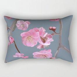 painted plum blossom green grey Rectangular Pillow
