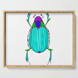 Egyptian Scarab Beetle Turquoise Serving Tray