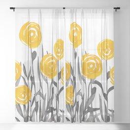 Fall Sunshine, Floral Watercolor Print, Yellow and Gray Sheer Curtain
