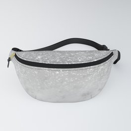 White Marble Silver Ombre Glitter Glam #1 #shiny #gem #decor #art #society6 Fanny Pack