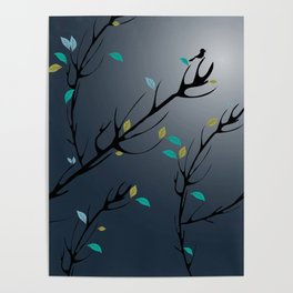 Nightingale singing in the night sky under the moonlight Poster