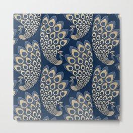 Blue and Gold Art Deco Peakock Metal Print