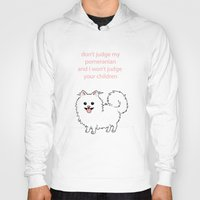 pomeranian Hoodies featuring Pomeranian by Robin Design