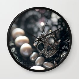Skull, beads and lace Wall Clock