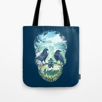 skull Tote Bags featuring Nature's Skull by Rachel Caldwell