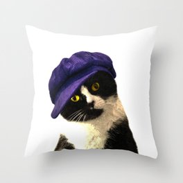 Cat Blue Hat Throw Pillow