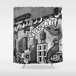 Black and White, Williamsburg Brooklyn Wall Art Shower Curtain