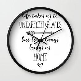 Love Always Brings Us Home (Black) Wall Clock