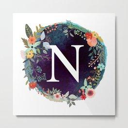 Personalized Monogram Initial Letter N Floral Wreath Artwork Metal Print