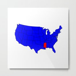 State of Mississippi Location Metal Print