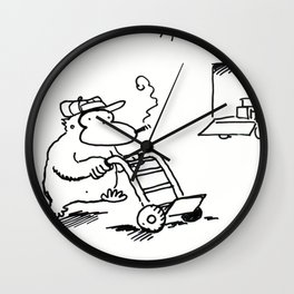 Worker Ape Pushes Dolly Wall Clock