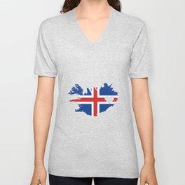 Love Iceland Gift Icelandic Pride Heart Unisex V-Neck