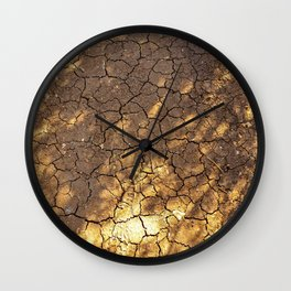 Brown Cracked Ground With Tree Shades Wall Clock