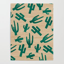 Tropical green cactus pattern on rustic wood Poster