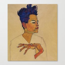 SELF PORTRAIT WITH HANDS ON CHEST - EGON SCHIELE Canvas Print