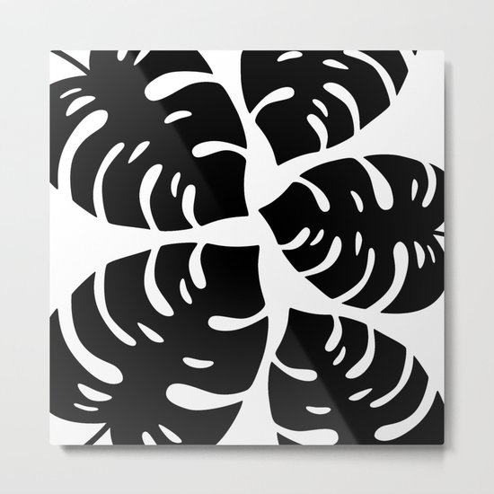 Black and White Palm Leaves Metal Print