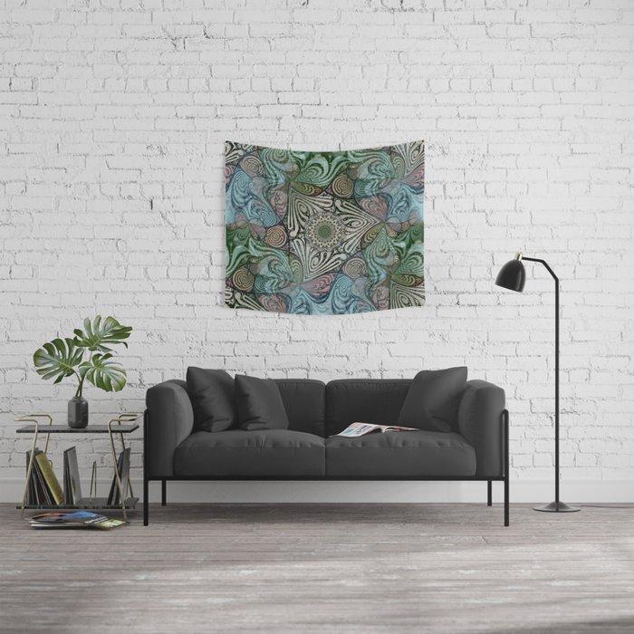 Labyrinth Mandala Blue Green Grey Wall Tapestry