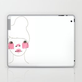 Line Drawing of a Girl in Neon  Laptop & iPad Skin