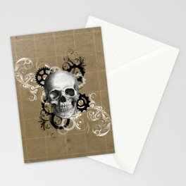 Skull With Gears and Floral Ornaments Stationery Cards